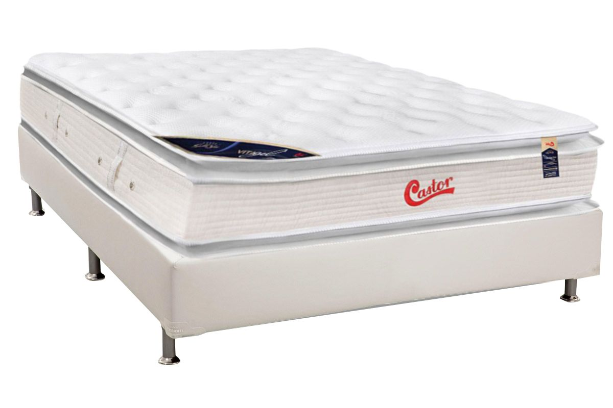 Colchão Castor de Molas Pocket Viategel SLX Pillow Top Double Face + Cama Box Universal Courino White