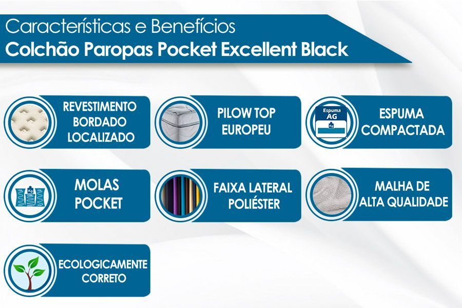 Conjunto Box-Colchão Paropas Pocket Excellent Black+Cama