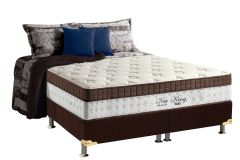 Conjunto Cama Box - Colchão Anjos de Molas Pocket New King Euro Pillow + Cama Box Universal Nobuck Rosolare Café